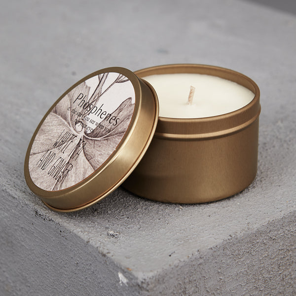 Phosphenes Brass Tin Candle