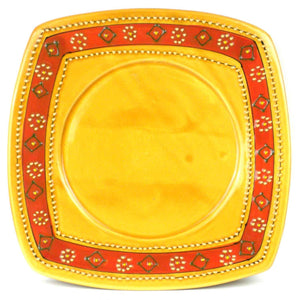 Hand-painted Square Plate in Honey Handmade and Fair Trade
