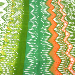White,Peach and Green Ikat Cotton Scarf - Asha Handicrafts - Simply Handmade