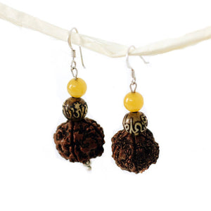 Rudraksha & Pearl Earrings - Global Groove (J) - Simply Handmade