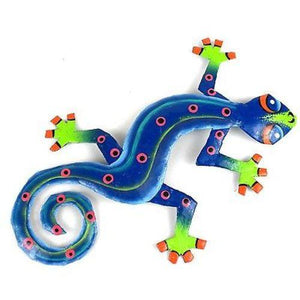 Eight Inch Blue Green Metal Gecko Handmade and Fair Trade