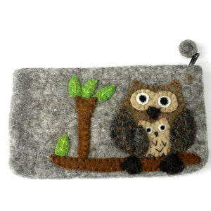 Handmade Tan Felted Owl Clutch - Global Groove (P) - Simply Handmade
