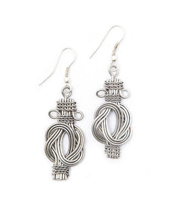 Buddha Knot Earrings - Silvertone - Matr Boomie (Jewelry) - Simply Handmade
