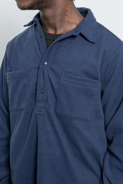 LS Popover Shirt Two - Navy Polar Fleece