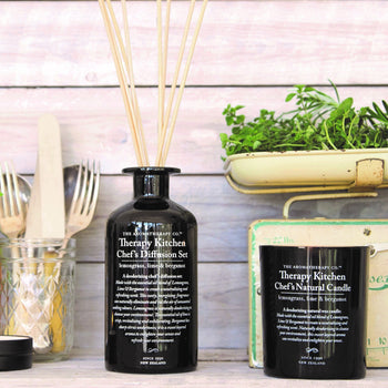 kitchen candles and diffusers in black glass