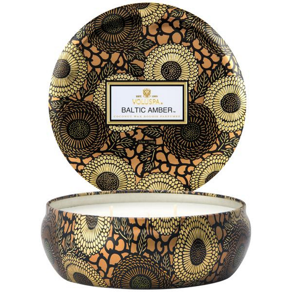 Voluspa  decorative tin candle baltic amber fragrance