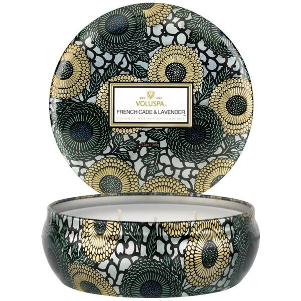 voluspa candle decorative tin french cade & lavender