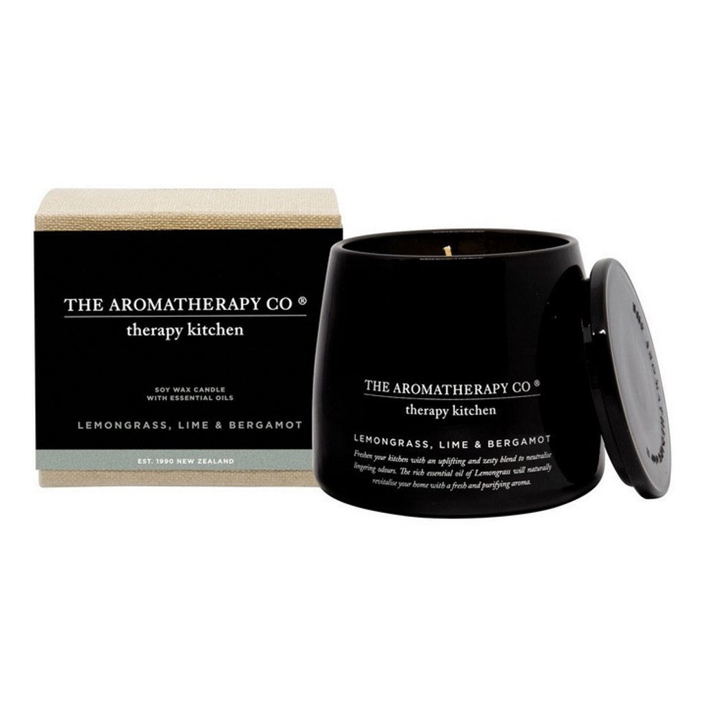 citrus based kitchen candle in black jar
