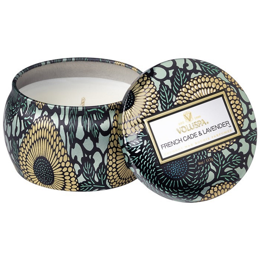 A coconut wax candle in a decorative japanese inspired tin lavender