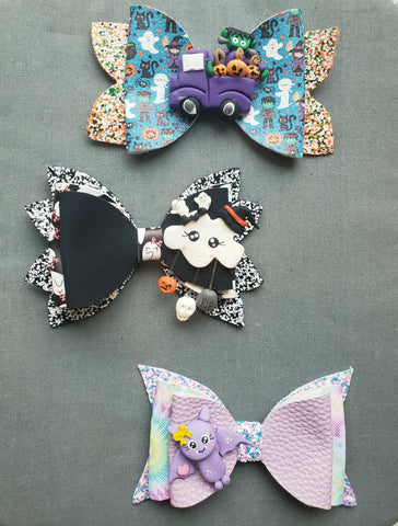Halloween Characters Clay Bows