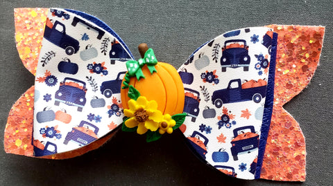 Dark Blue Pumpkin Truck Bow