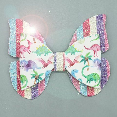 Summer Rainbow Dino Bow