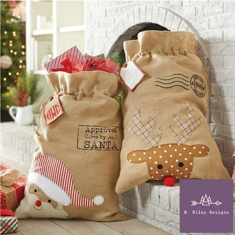 LARGE - Traditional Burlap Santa & Reindeer Sacks