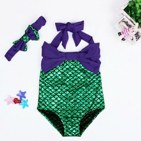 Let's Be Mermaids Swimsuit and Headband