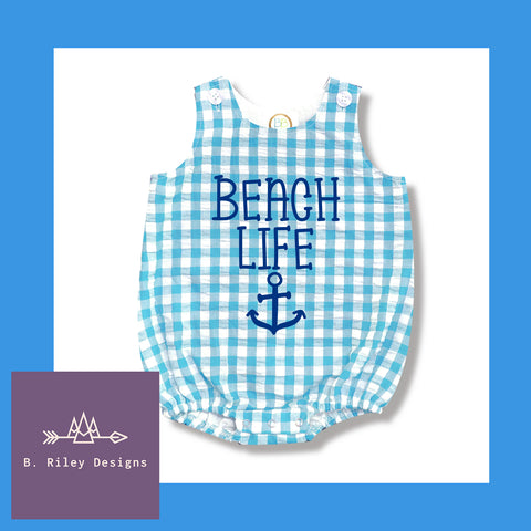 Beach Life Gingham Bubble Romper