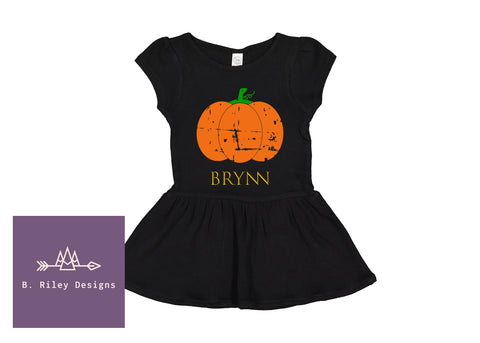 Personalized Black Pumpkin Dress (6M-6)