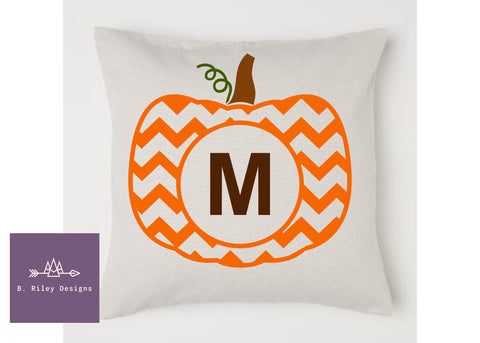 Chevron Monogram Pumpkin Pillow Case