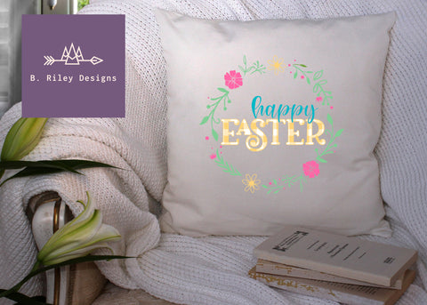 Happy Easter Floral Pillow Cover