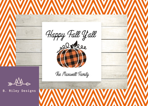 Personalized Happy Fall Y'all Canvas Decorative Sign