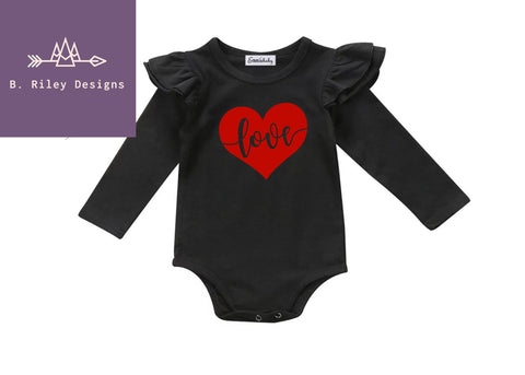 Love In My Heart- Ruffle Onesie