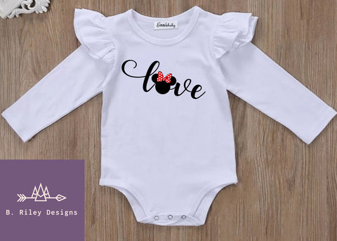 Mouse Love -- Ruffle Onesie