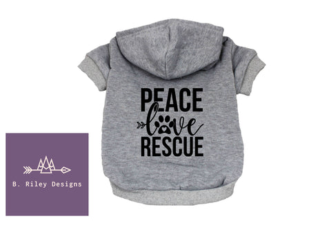 Peace Love Rescue - Dog Hoodie