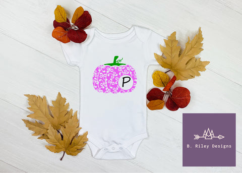 Purple Swirl Monogram Pumpkin Onesie