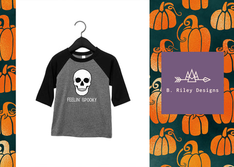 Spooky Bones Raglan (Big Kid Sizes)