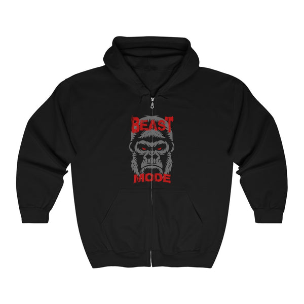 Beast Mode Full Zip Hooded Sweatshirt - Front & Back