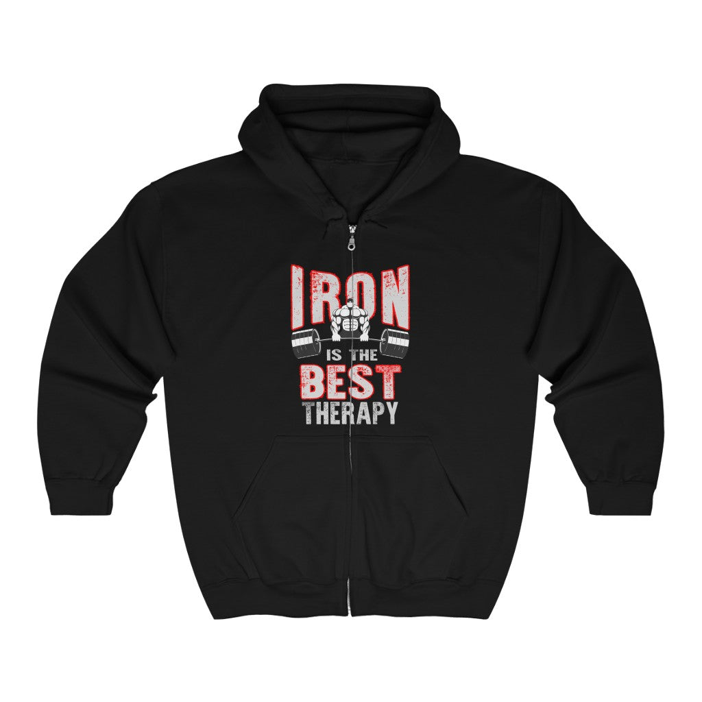 Iron Is The Therapy Full Zip Hooded Sweatshirt