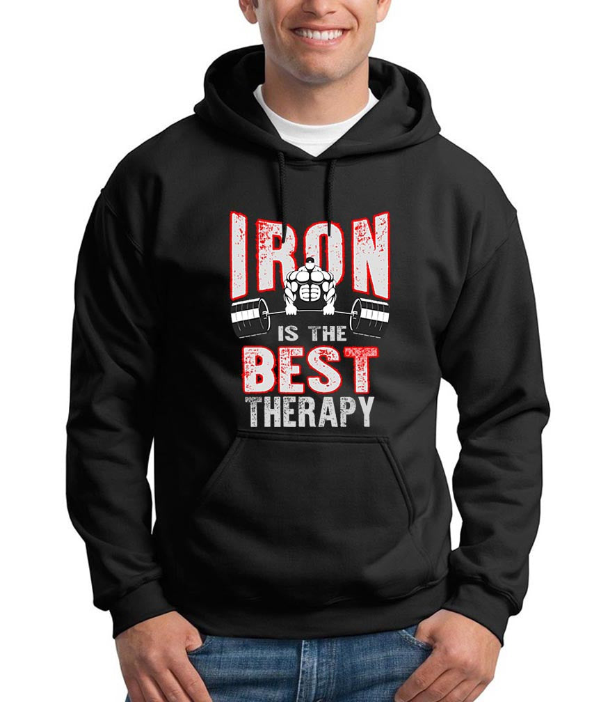 Iron is the Best Therapy Gym Workout Hoodie