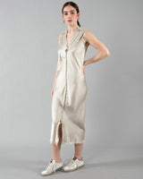 JAGA - Dress with Dark Silver Paint | Luxury Designer Fashion | tntfashion.ca