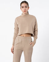 Crop Mock Neck Sweatshirt