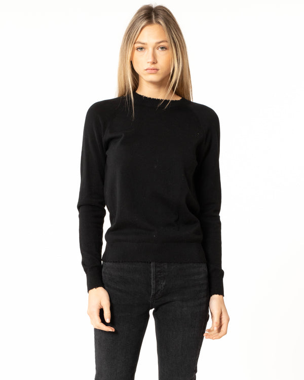 MINNIE ROSE - Frayed Long Sleeve Pullover | Luxury Designer Fashion | tntfashion.ca