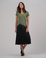 ATM - Dip Dye V-Neck Dress | Luxury Designer Fashion | tntfashion.ca