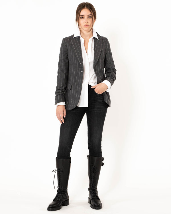 ELEVENTY Single Breasted Pinstripe Jacket | newtntfashion.