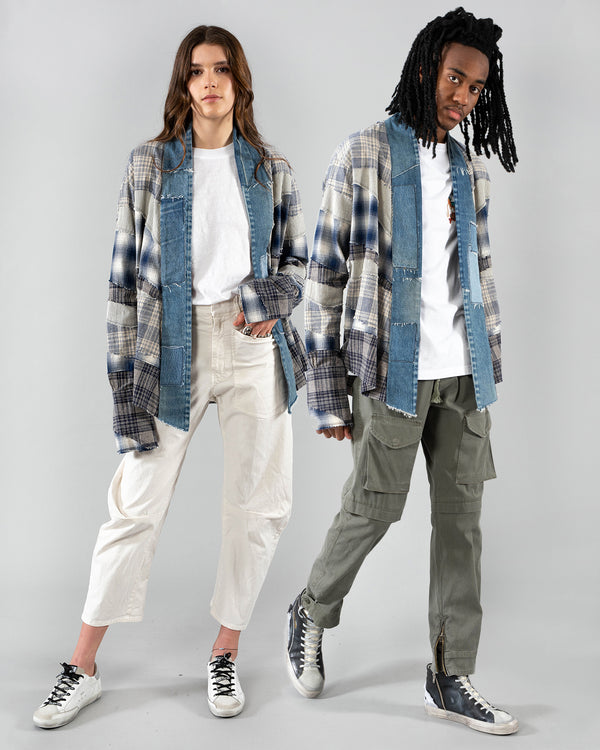 GREG LAUREN - Mixed Blue And White Kimono | Luxury Designer Fashion | tntfashion.ca