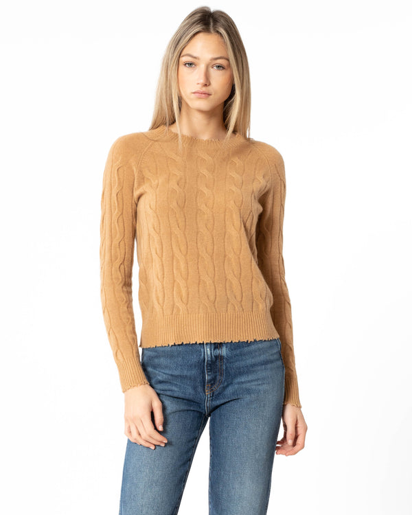MINNIE ROSE - Cable Knit Frayed Pullover | Luxury Designer Fashion | tntfashion.ca