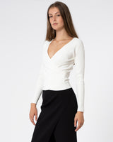 JONATHAN SIMKHAI - Deep Rib Long Sleeve Wrap Top | Luxury Designer Fashion | tntfashion.ca
