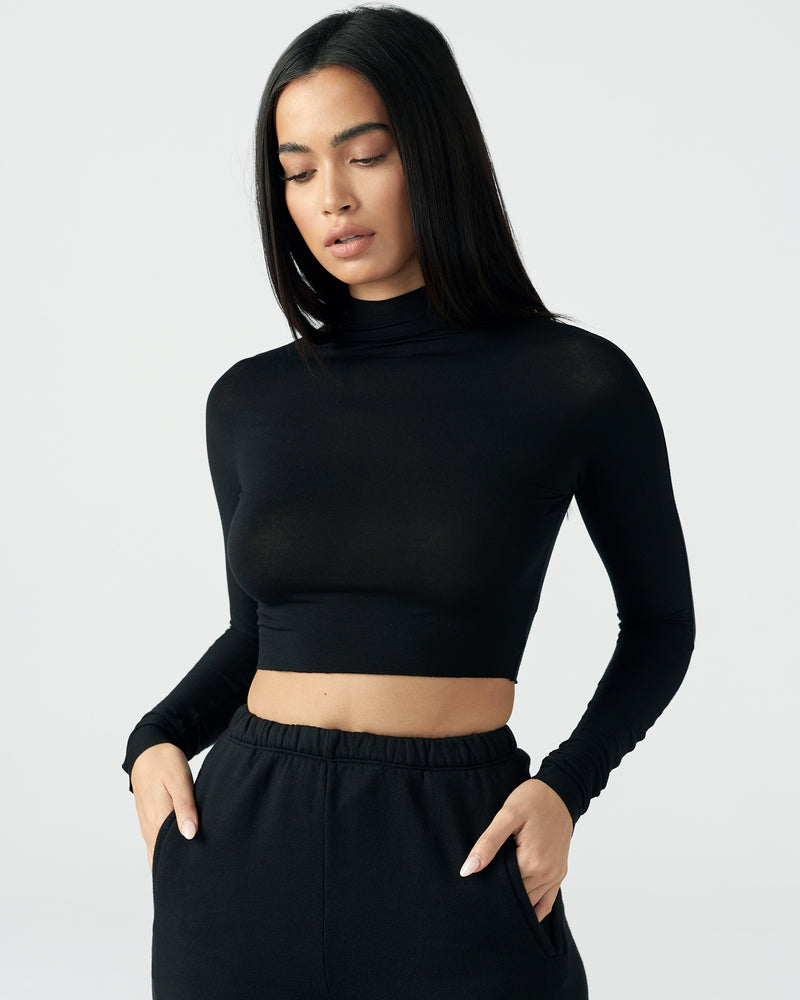 JOAH BROWN Crop Mock Long Sleeve Shirt | newtntfashion.