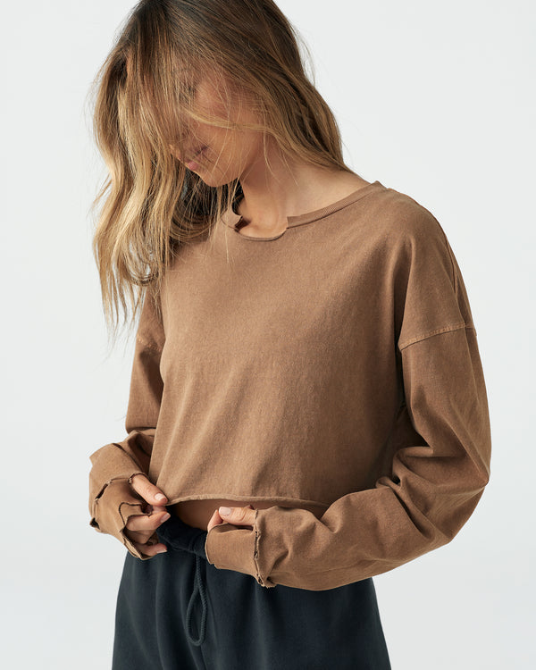 Distressed Cropped Long Sleeve Shirt
