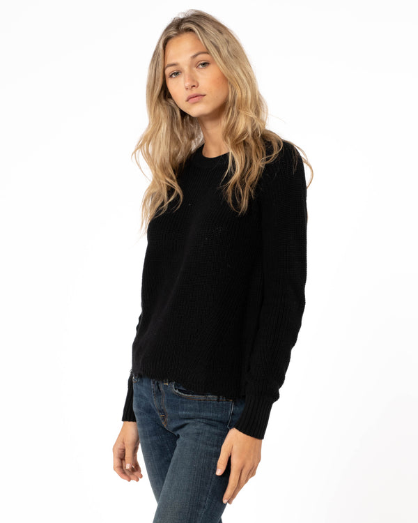 AUTUMN CASHMERE Distressed Scallop Shaker Sweater | newtntfashion.