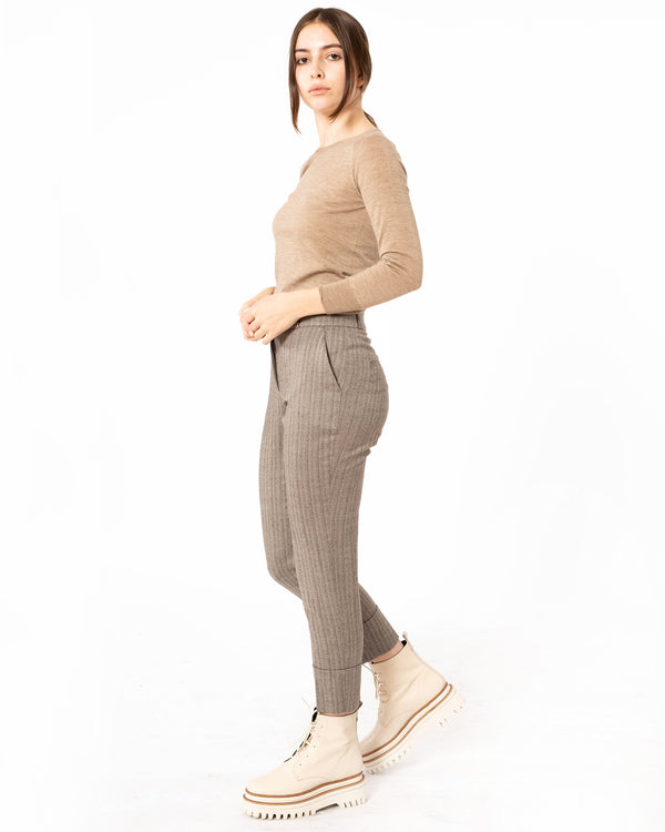 PESERICO - Striped Cropped Trousers | Luxury Designer Fashion | tntfashion.ca