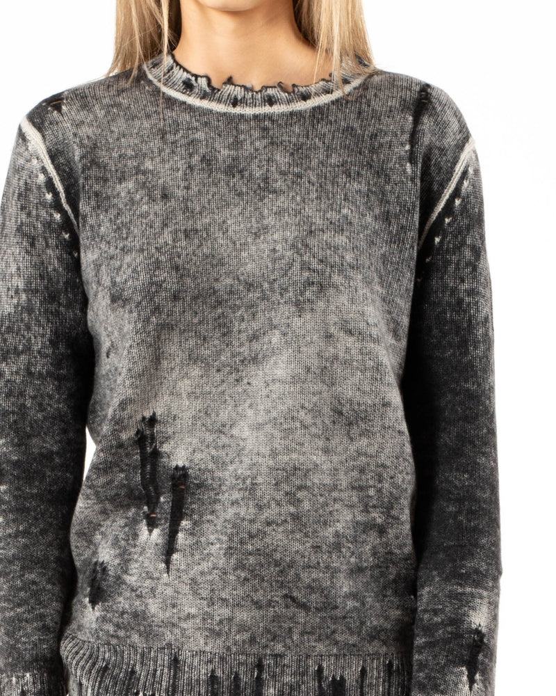 R13 Faded Cashmere Crewneck Sweater | newtntfashion.