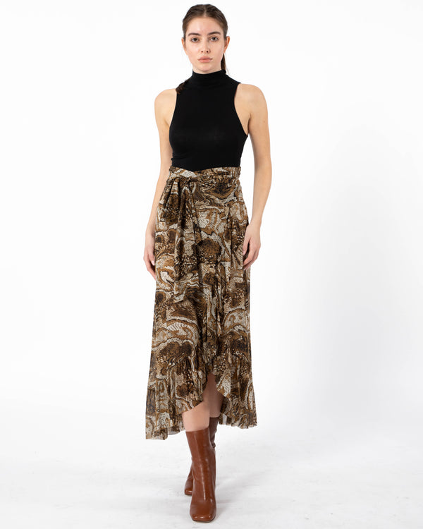 GANNI - Printed Mesh Wrap Skirt | Luxury Designer Fashion | tntfashion.ca