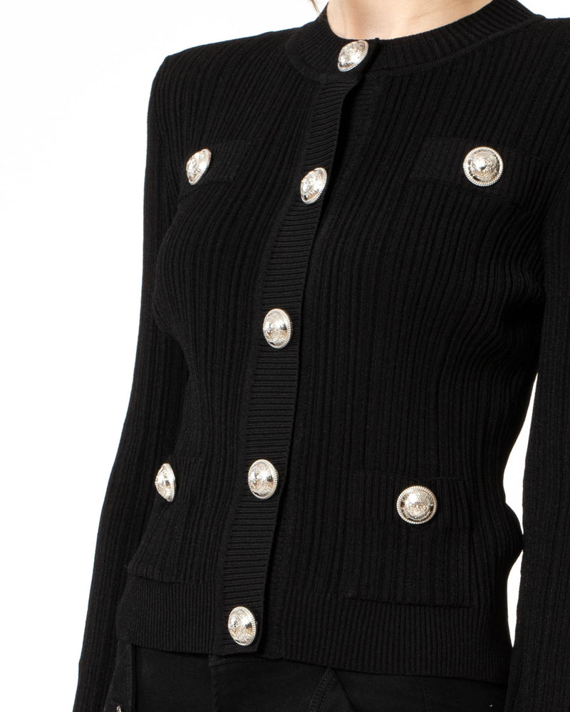 BALMAIN - Pleated Knit Cardigan | Luxury Designer Fashion | tntfashion.ca