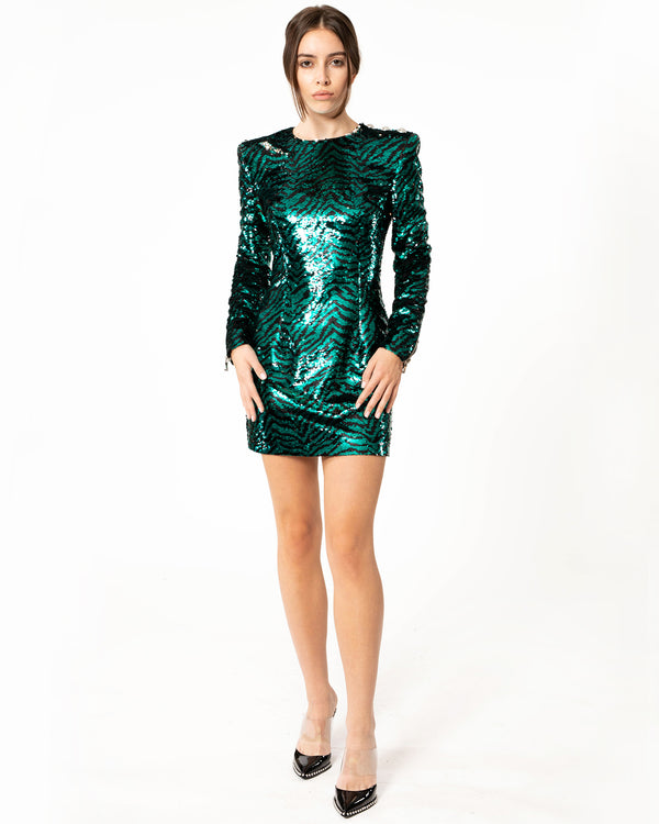 BALMAIN Zebra Stripe Sequin Dress | newtntfashion.