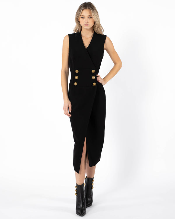 BALMAIN Crepe Wrap Midi Dress | newtntfashion.