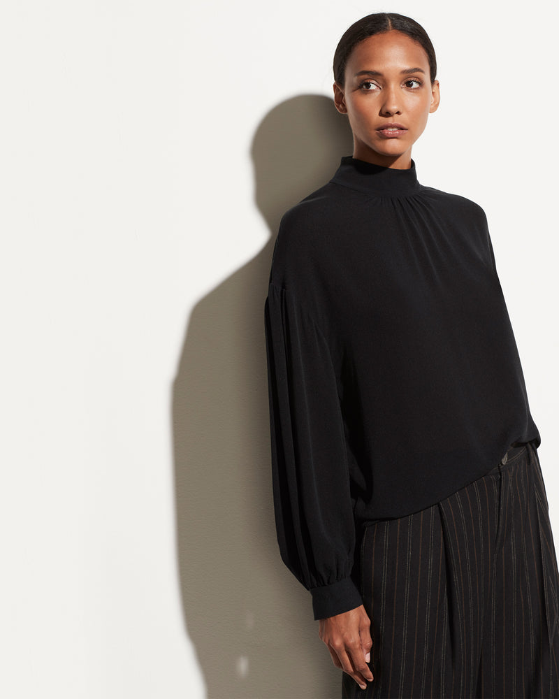VINCE - Shirred Mock Neck Top | Luxury Designer Fashion | tntfashion.ca