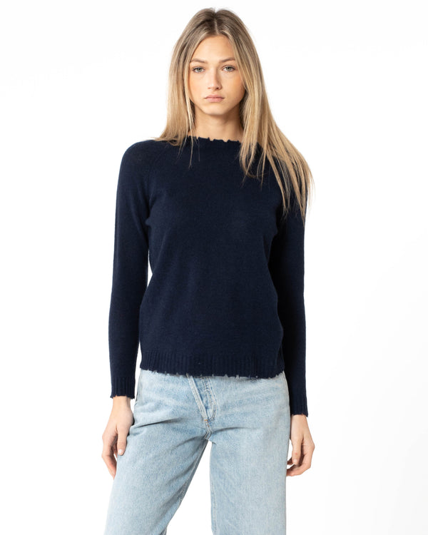MINNIE ROSE - Distressed Long Sleeve Pullover | Luxury Designer Fashion | tntfashion.ca